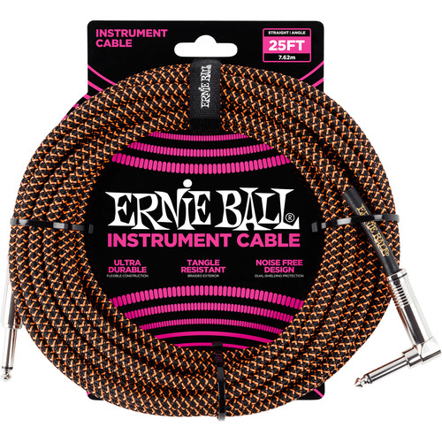Ernie Ball 25' Straight/Angle Braided Cable (Black & Orange)