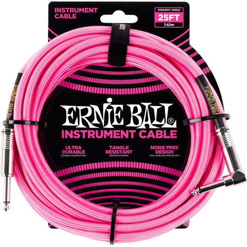 "Ernie Ball 1/4"" Straight to 1/4"" Right-Angle Braided Instrument Cable (25', Neon-Pink)"