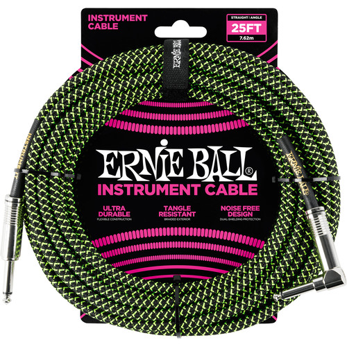 """Ernie Ball 1/4"""" Straight to 1/4"""" Right-Angle Braided Instrument Cable (25', Black/Green)"""