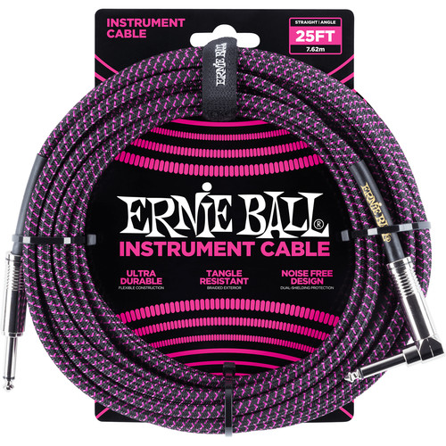 """Ernie Ball 1/4"""" Straight to 1/4"""" Right-Angle Braided Instrument Cable (25', Black/Purple)"""