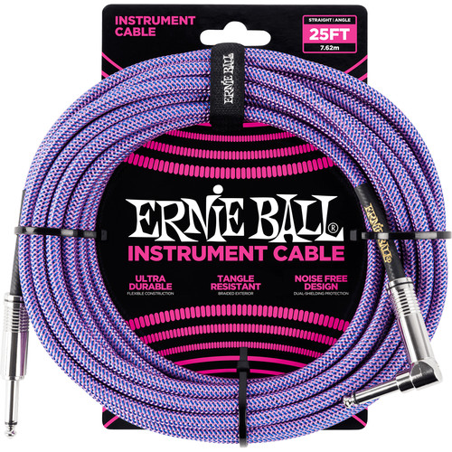 "Ernie Ball 1/4"" Straight to 1/4"" Right-Angle Braided Instrument Cable (25', Purple)"
