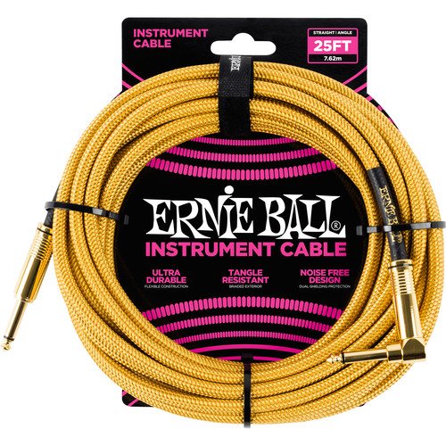 "Ernie Ball 1/4"" Straight to 1/4"" Right-Angle Braided Instrument Cable (25', Gold/Gold)"