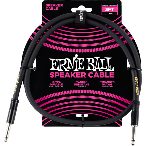 """Ernie Ball 1/4"""" Straight to 1/4"""" Straight Speaker Cable (3', Black)"""