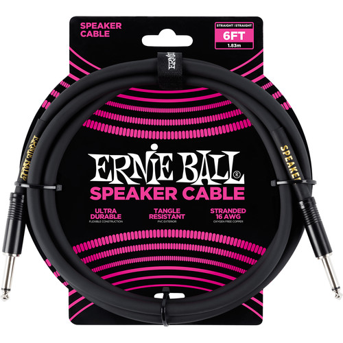 "Ernie Ball 1/4"" Straight to 1/4"" Straight Speaker Cable (6', Black)"