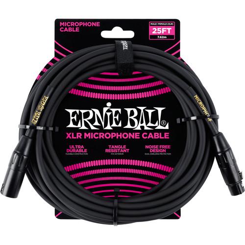 Ernie Ball 25' Male/Female XLR Mic Cable (Black/Gold Shrink Wrap)