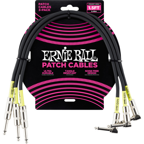 """Ernie Ball 1/4"""" Straight to 1/4"""" Right-Angle Patch Cable (1.5', Black, 3-Pack)"""