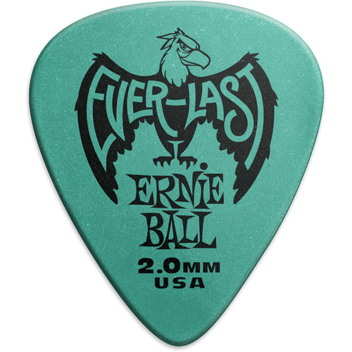 Ernie Ball Everlast Electric Guitar Picks (2mm, Teal, 12-Pack)