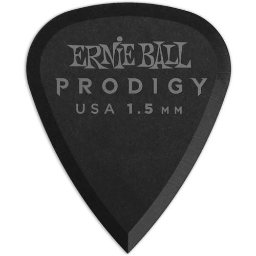 Ernie Ball Standard Prodigy Electric Guitar Picks (1.5mm, Black, 6-Pack)