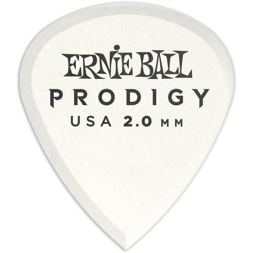 Ernie Ball Mini Prodigy Electric Guitar Picks (2.0mm, White, 6-Pack)