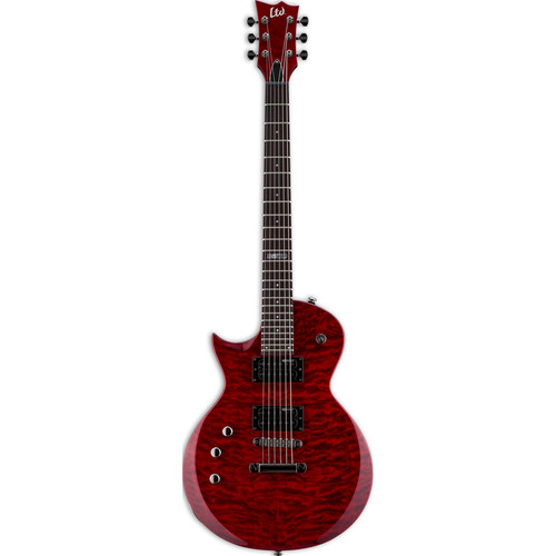 ESP LTD EC-100QM Electric Guitar (Left-Handed, See-Thru Black Cherry)