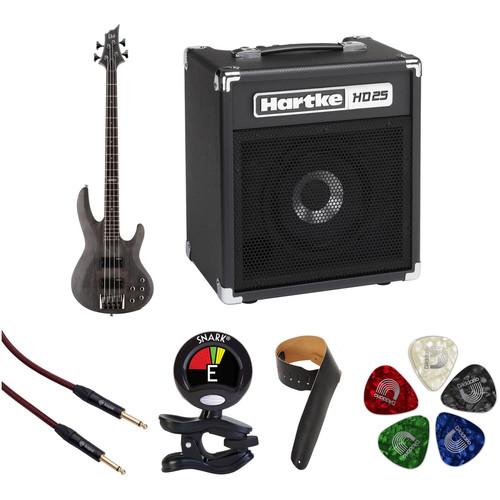 ESP LTD B-204SM Electric Bass Starter Kit (See Thru Black Satin)