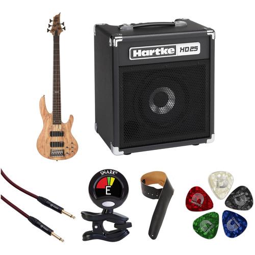 ESP LTD B-205SM 5-String Electric Bass Starter Kit (Natural Satin)