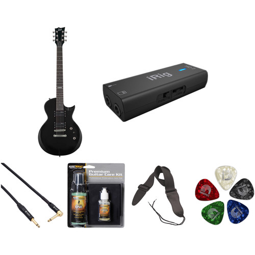 ESP LTD EC-10 Electric Guitar with Interface and Recording Starter Kit (Black)