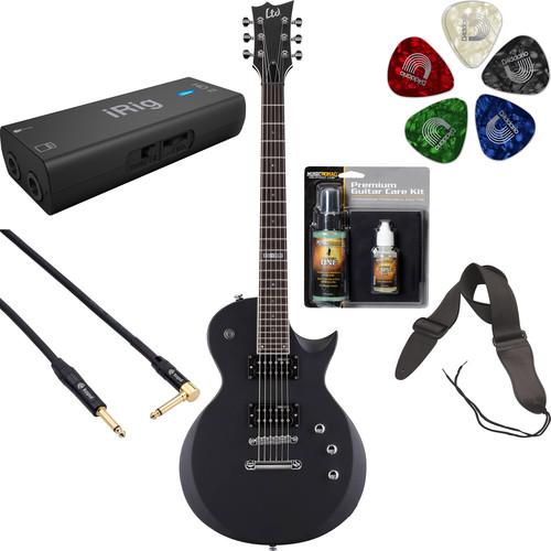ESP LTD EC-200 Electric Guitar Home Recording Starter Kit (Black Satin)
