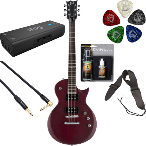 ESP LTD EC-200 Electric Guitar Home Recording Starter Kit (See-Thru Black Cherry Satin)