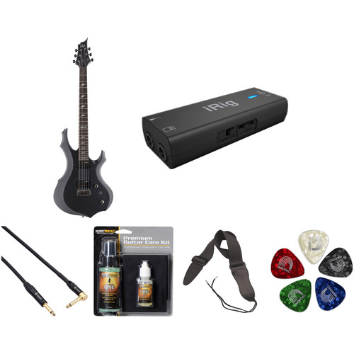 ESP LTD F-200B Baritone Electric Guitar Home Recording Starter Kit