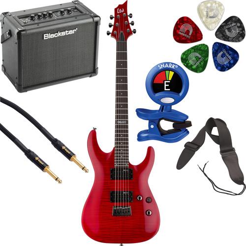 ESP LTD H-101FM Electric Guitar Starter Kit (See-Thru Red)