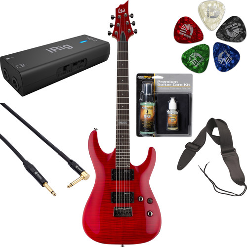 ESP LTD H-101FM Electric Guitar Home Recording Starter Kit (See-Thru Red)