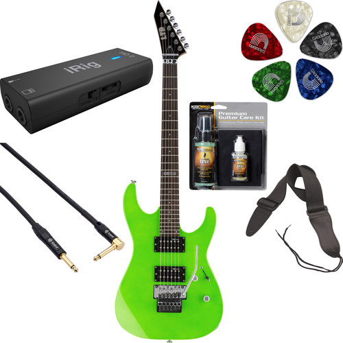 ESP LTD M-50FR Electric Guitar Home Recording Starter Kit (Neon Green)