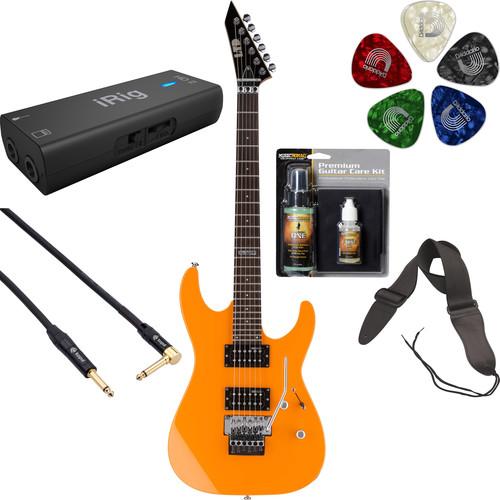 ESP LTD M-50FR Electric Guitar Home Recording Starter Kit (Neon Orange)