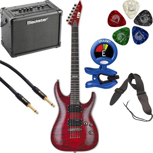 ESP LTD MH-100QM NT Electric Guitar Starter Kit (See-Thru Black Cherry)
