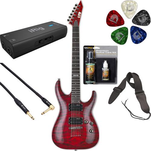 ESP LTD MH-100QM NT Electric Guitar Home-Recording Starter Kit (See-Thru Black Cherry)