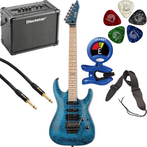 ESP LTD MH-103QM Electric Guitar Starter Kit (See-Thru Blue)