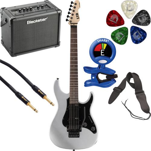 ESP LTD SN-200FR Electric Guitar Starter Kit (Metallic Silver)