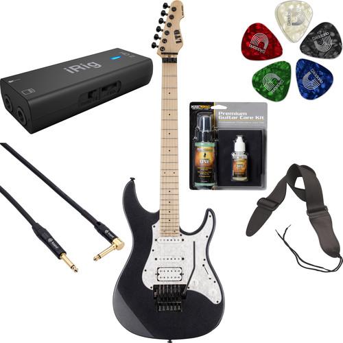 ESP LTD SN-200FR Electric Guitar Home Recording Starter Kit (Charcoal Metallic)