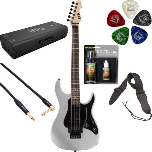 ESP LTD SN-200FR Electric Guitar Home Recording Starter Kit (Metallic Silver)