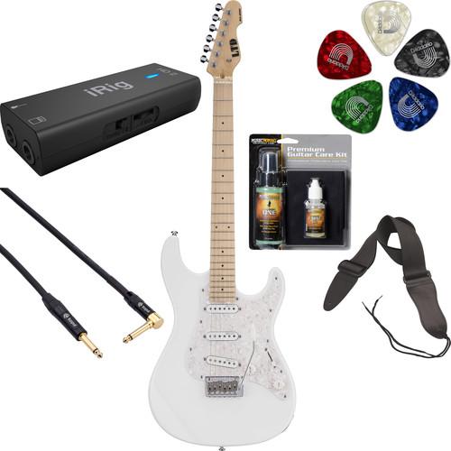ESP LTD SN-200W Electric Guitar Home Recording Starter Kit (Snow White)