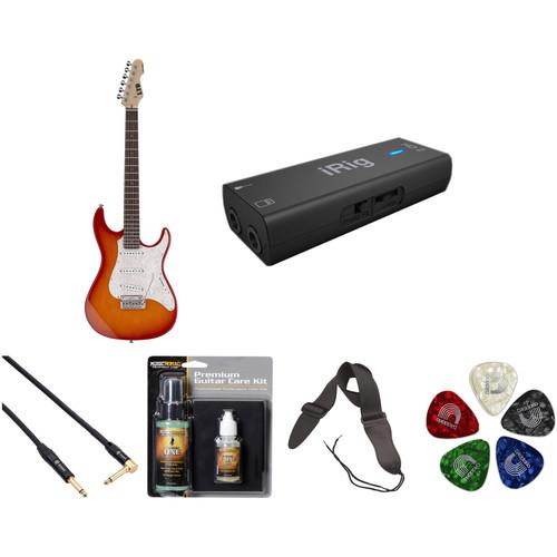 ESP LTD SN-200W Electric Guitar Home Recording Starter Kit (Copper Sunburst)