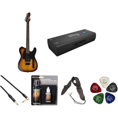 ESP LTD TE-200 Electric Guitar Home Recording Starter Kit (Tobacco Sunburst)