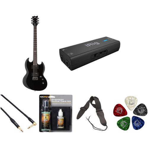 ESP LTD Viper-200B Baritone Electric Guitar Home Recording Starter Kit (Black)
