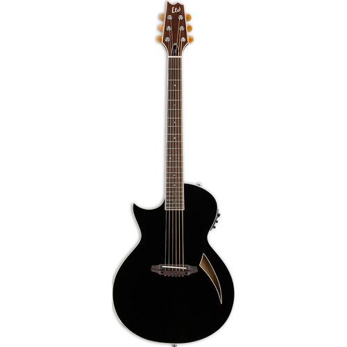 ESP LTD Thinline Series TL-6 Acoustic/Electric Guitar (Left-Handed, Black)