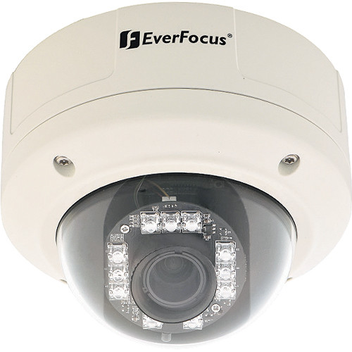 EverFocus EHD363 Vandal-Resistant 3-Axis Outdoor Day/Night IR Dome Camera with 3.7 to 12mm Fixed Lens (NTSC)