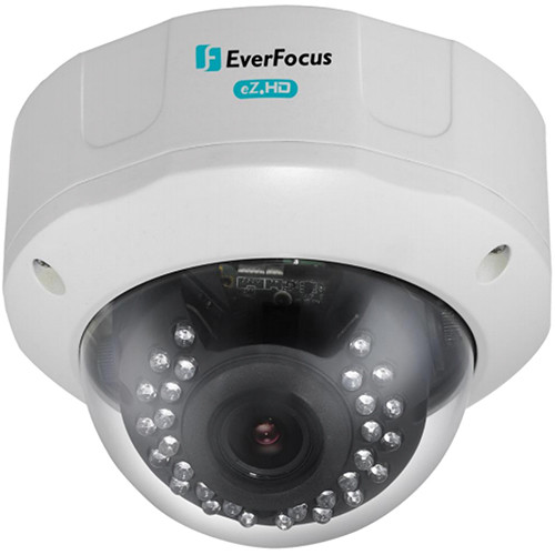 EverFocus 720p Analog HD True Day/Night Outdoor IR Vandal Dome Camera with 2.8 to 12mm Varifocal Lens