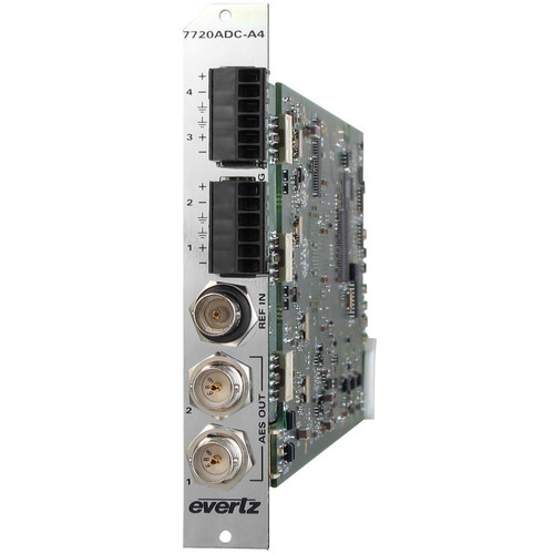 Evertz Microsystems Quad Analog Audio to Dual AES Converter with 3 RU Rear Plate