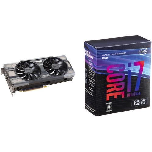 EVGA GeForce GTX 1070 FTW GAMING Graphics Card & Intel Core i7-8700K 6-Core Processor Kit