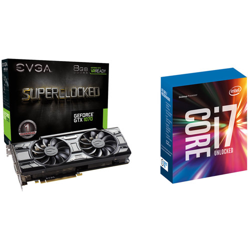 EVGA GeForce GTX 1070 SC GAMING Black Edition Graphics Card & Intel Core i7-7700K 4.2 GHz Quad-Core LGA 1151 Processor Kit