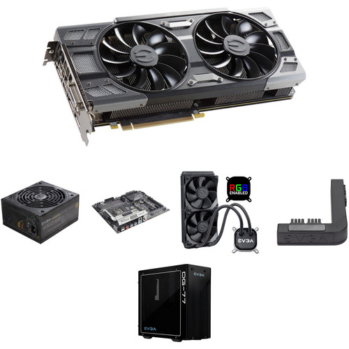 EVGA GeForce GTX 1080 FTW DT GAMING Graphics Card Kit with Motherboard, PSU, Mid-Tower Case, CPU Cooler, & PowerLink Adapter