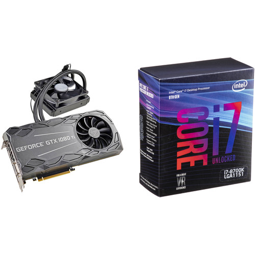 EVGA GeForce GTX 1080 Ti FTW3 HYBRID GAMING Graphics Card & Intel Core i7-8700K 6-Core Processor Kit