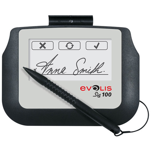 Evolis Sig100 Signature Capture Pad Bundle with Signosign/2 Software CD and Workstation License