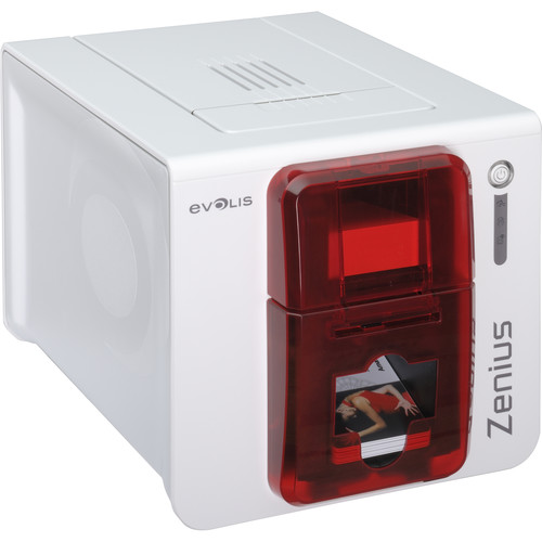 Evolis Zenius Expert Mag ISO Single-Sided Card Printer with Mag ISO Dual HiCo/LoCo 3-track magnetic stripe Encoder (Fire Red)