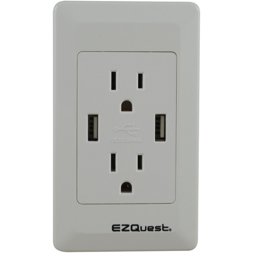 EZQuest 2-Outlet and 2-Port USB Plug n' Charge Wall Outlet
