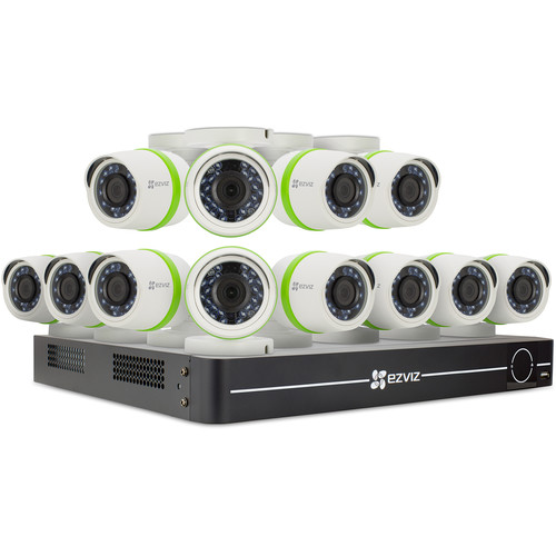 ezviz Everyday 3MP 16-Channel 3MP DVR with 2TB HDD and 12 3MP Outdoor Bullet Cameras Kit