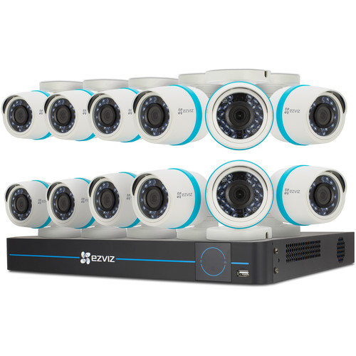 ezviz BN-1G4CA3 16-Channel 4MP NVR with 3TB HDD and 12 4MP Outdoor Network Bullet Cameras Kit
