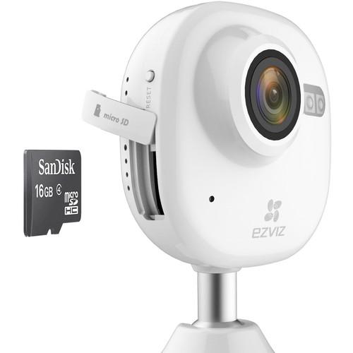 ezviz CV-200 Mini Plus 1080p Wi-Fi Camera with Night Vision & 16GB microSD Card (White)
