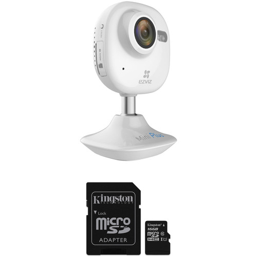 ezviz CV-200 Mini Plus 1080p Wi-Fi Camera & 16GB microSD Card Kit (White)