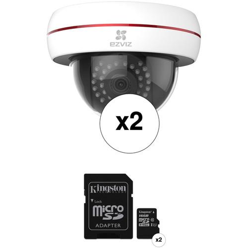 ezviz CV-220 Husky Dome 1080p Outdoor Wi-Fi Night Vision Dome Camera & 16GB microSD Card Kit (2-Pack)